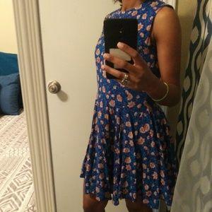 H&M ethnic floral flowy shift mini dress sz 6